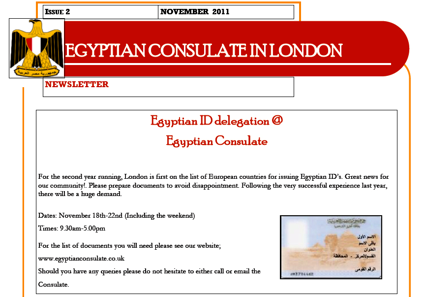 egyptian consulate letter